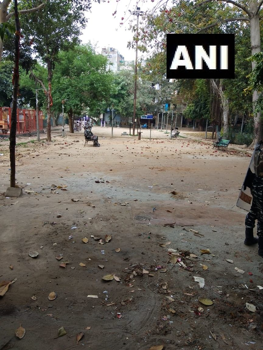 A scene from deserted Hauz Rani protest site after police clears it.