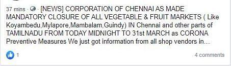 No, Chennai Hasn't Shut Down Fruit Marts Because of  Coronavirus