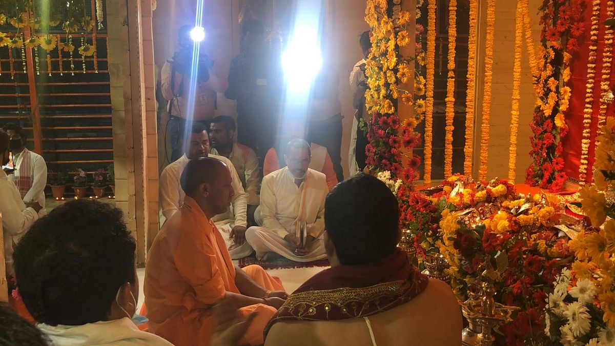 The Vedic mantras being chanted, with UP CM Yogi Adityanath sitting in the middle, in the new place where the Ram idol is being kept while the temple is constructed.