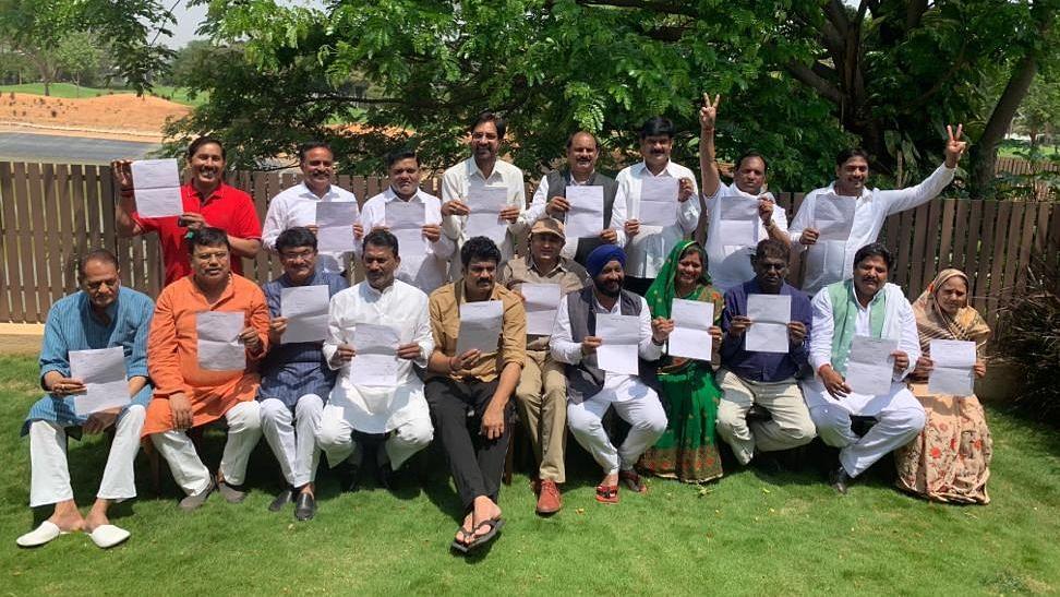 MP Congress MLAs at Prestige Golfshire Club, off Devanahalli in Bengaluru.