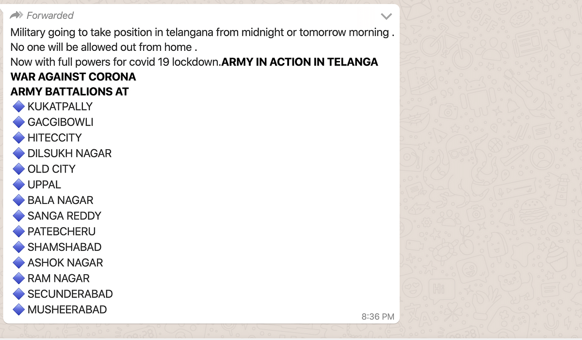 COVID-19: Message on Army Being Deployed in Telangana is False