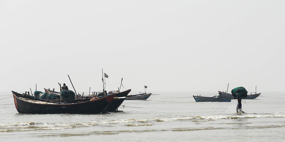 Boats geared up for fishing near Haripur beach in East Medinipur district of West Bengal.