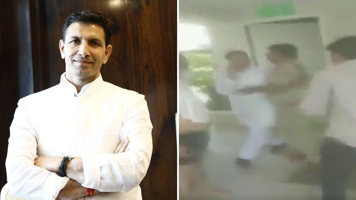 Scuffle broke out between Congress leader Jitu Patwari and a police personnel on Thursday, 12 March, while Patwari was trying to meet the Madhya Pradesh rebel MLAs at Embassy Boulevard in Bengaluru.