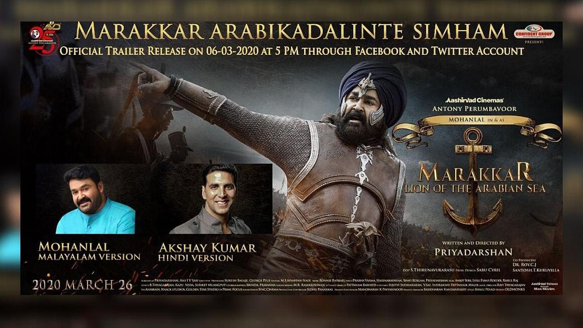 A poster for Mohanlal's upcoming release  <i>Marakkar: Arabikadalinte Simham</i>.&nbsp;