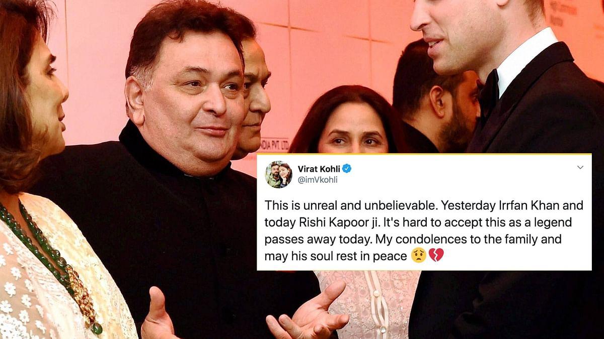 Virat Kohli, Anil Kumble, Sania Mirza condole the passing of Bollywood legend Rishi Kapoor.