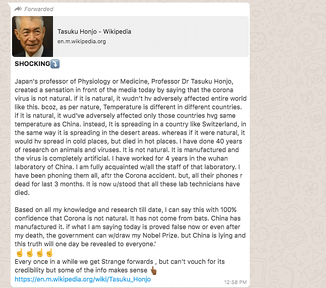 Nobel Laureate Tasuku Honjo Didn't Say COVID-19 Was Made in China