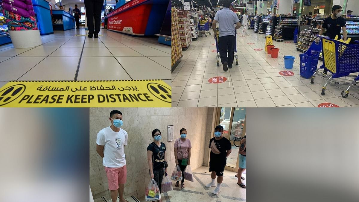 Clear markings made in supermarkets and public spaces in Abu Dhabi to ensure social distancing.