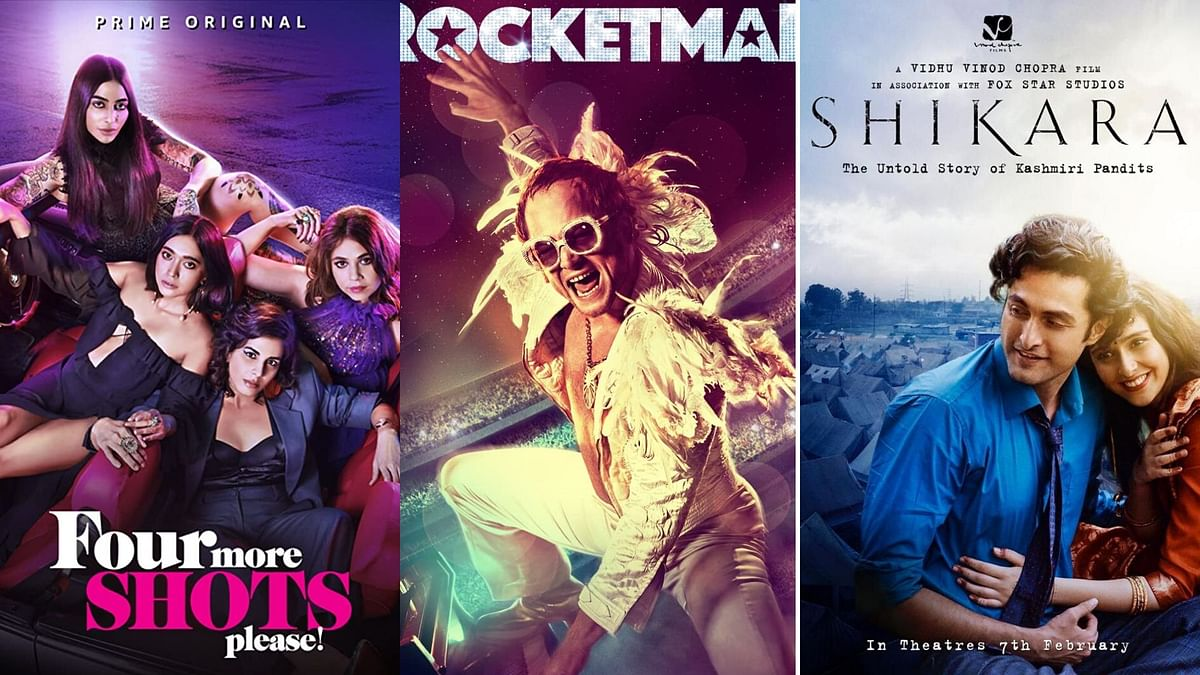 Posters of Four More Shots Please!, Rocketman, and Shikara