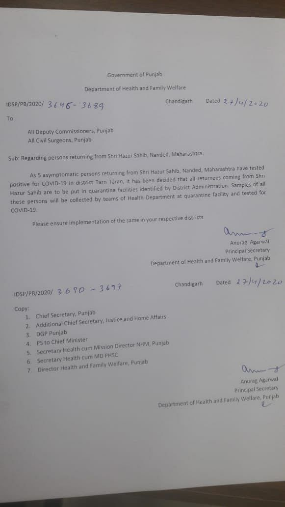 Order by Punjab secretary of health and family welfare