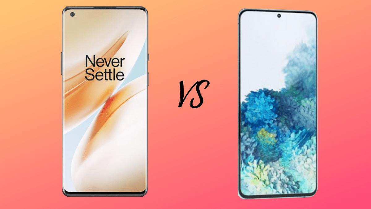 The OnePlus 8 Pro (left) in comparison to the Samsung Galaxy S20+ (right).