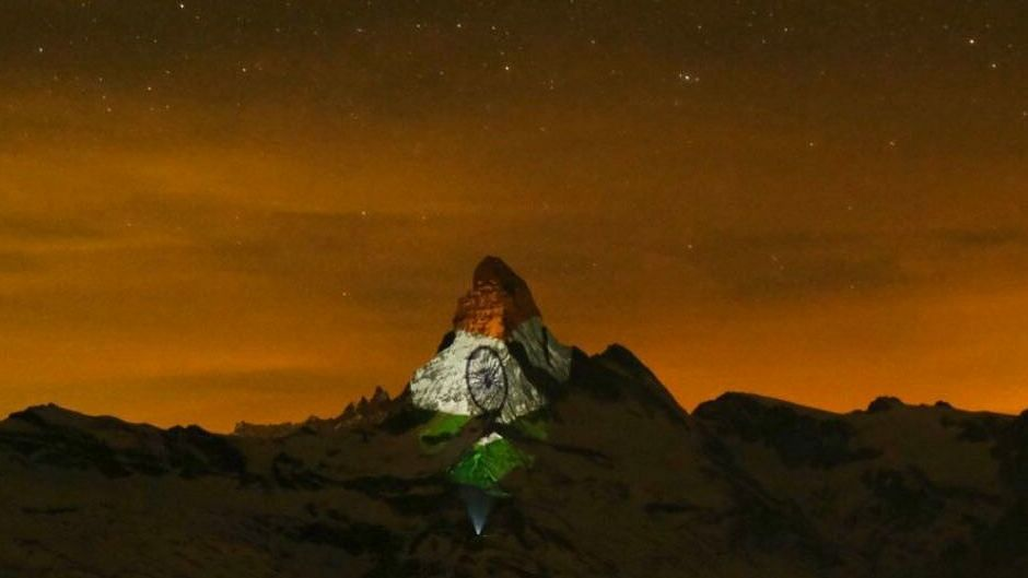 Indian Flag Projected on Swiss Mountain to Spark Hope Amid COVID