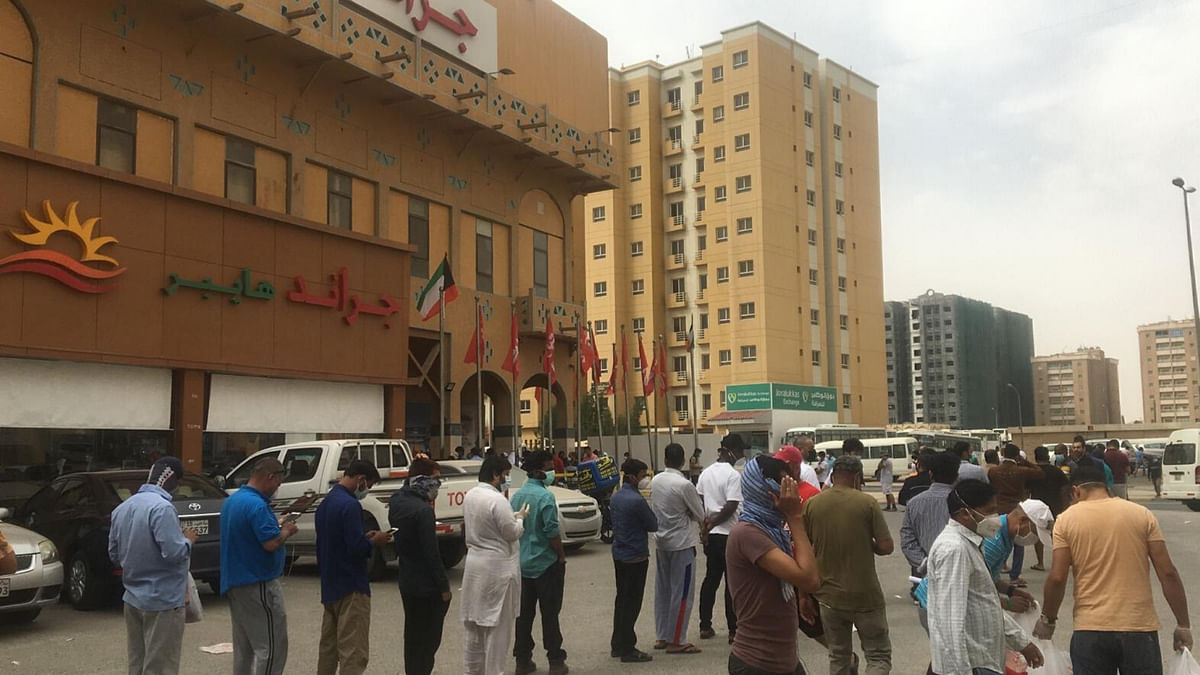 Long queues outside supermarkets have become a common sight in Kuwait.