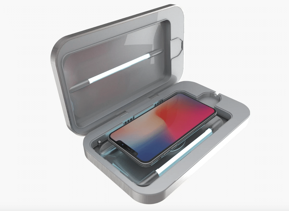 This UV light case claims to sanitise your phone or earphones.