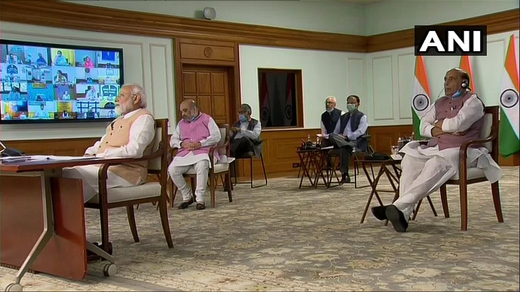 Prime Minister Narendra Modi chairs a meeting of Council of Ministers via video conferencing.