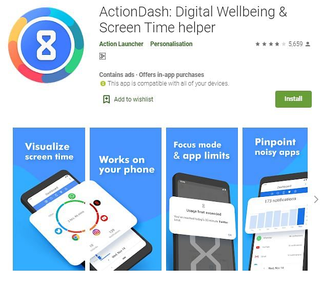 ActionDash is like Google's Digital Wellbeing Tools but is available for all Android phones.