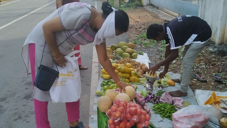 Two vegetable vendors are always available at the gate.