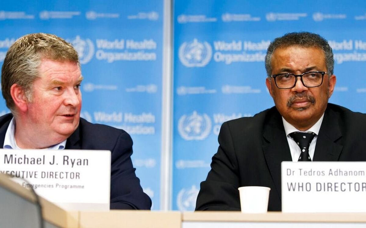 Dr Tedros Adhanom Ghebreyesus, the head of the World Health Organization (right).
