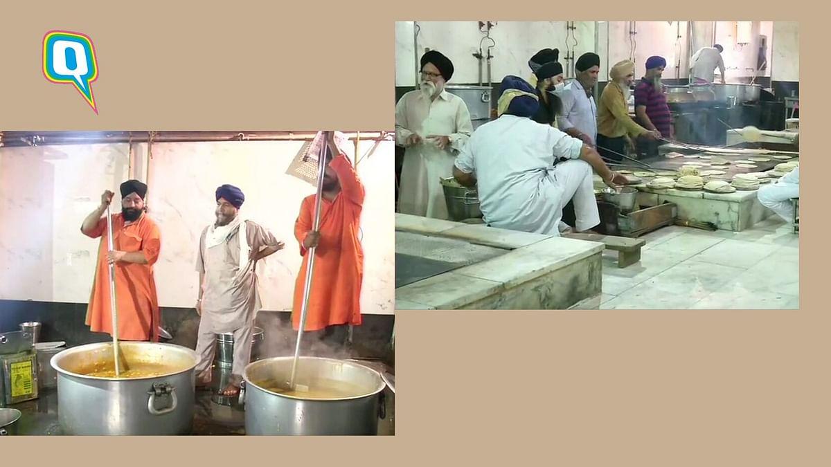 Food being prepared in the Gurudwara Bangla Sahib kitchen.