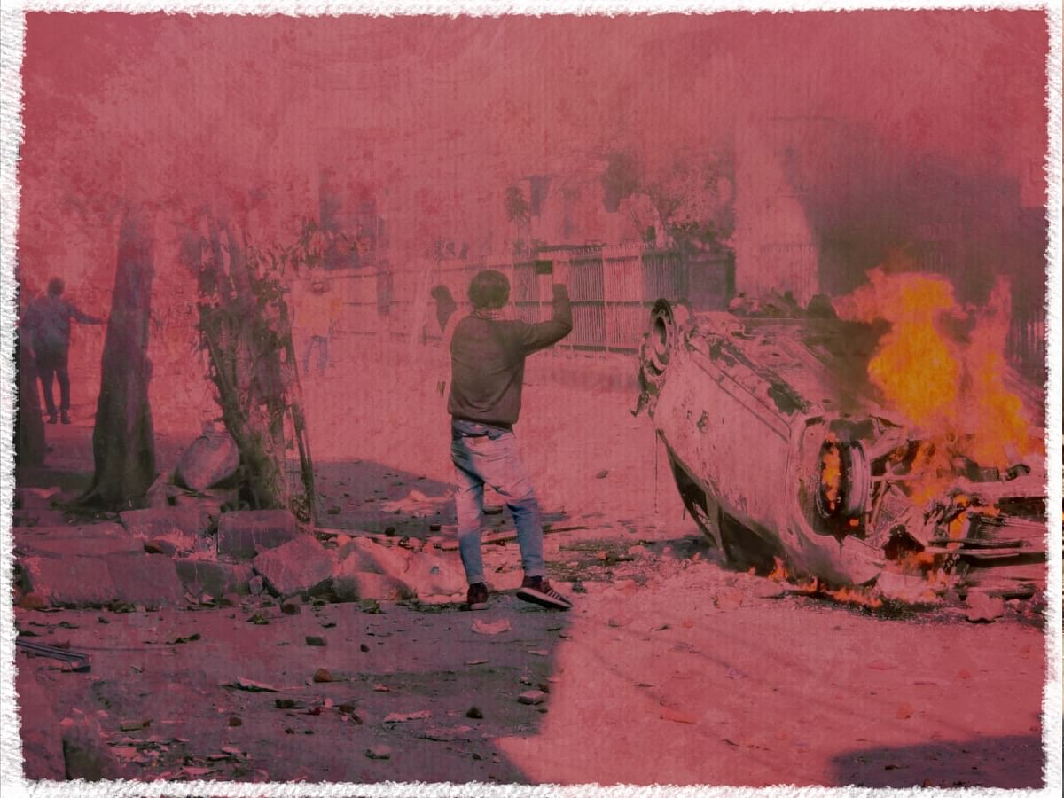 This picture was taken on 24 February in the middle of the riots that broke out between Maujpur and Jaffrabad in northeast Delhi. Of the 53 people who died, two-thirds were Muslims and the remaining Hindus.