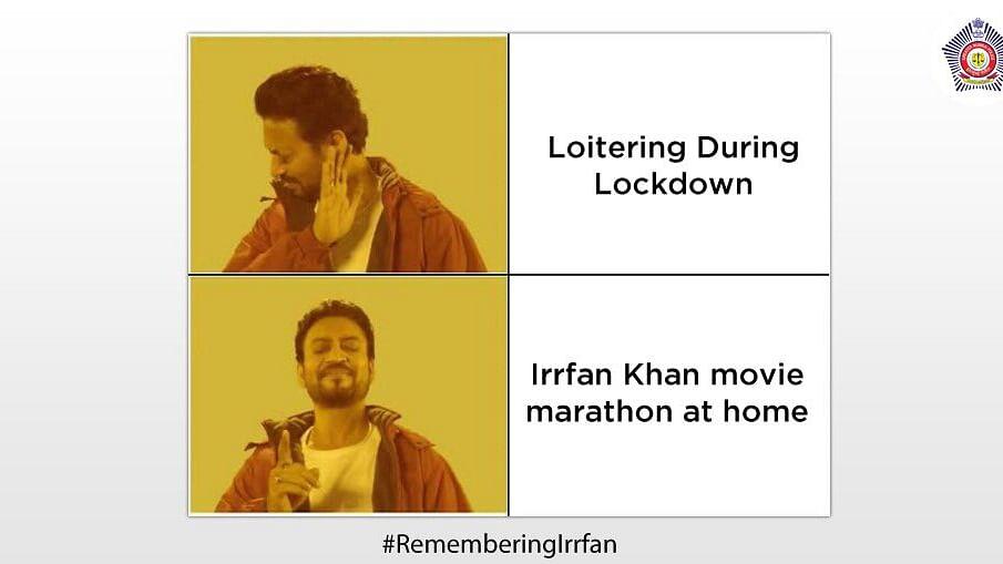 Mumbai Police's special tribute to Irrfan Khan.
