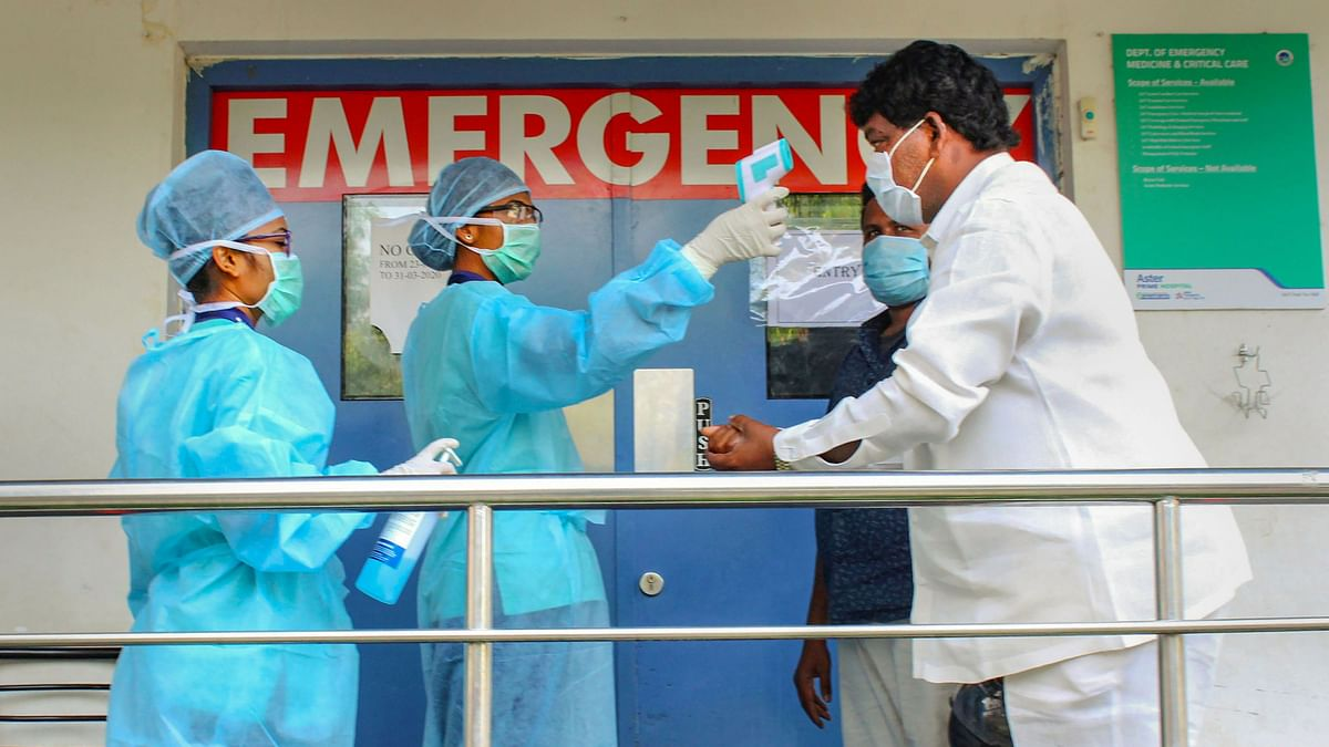 Thermal screening of visitors being conducted outside an emergency ward at a hospital during a nationwide lockdown in the wake of coronavirus pandemic, in Hyderabad, Sunday, 5 April, 2020. Image used for representation.