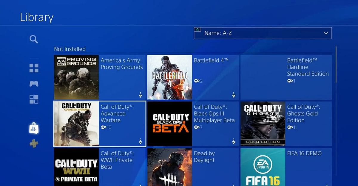 How the PS4 game library looks like.