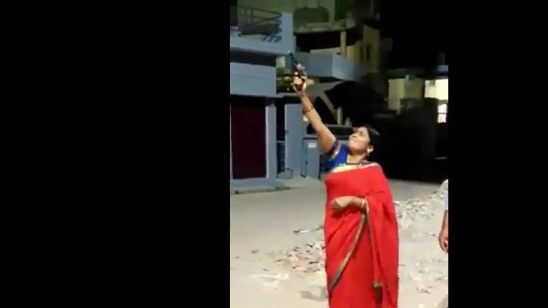 BJP leader from Balrampur Manju Tiwari seen firing a shot in a video.
