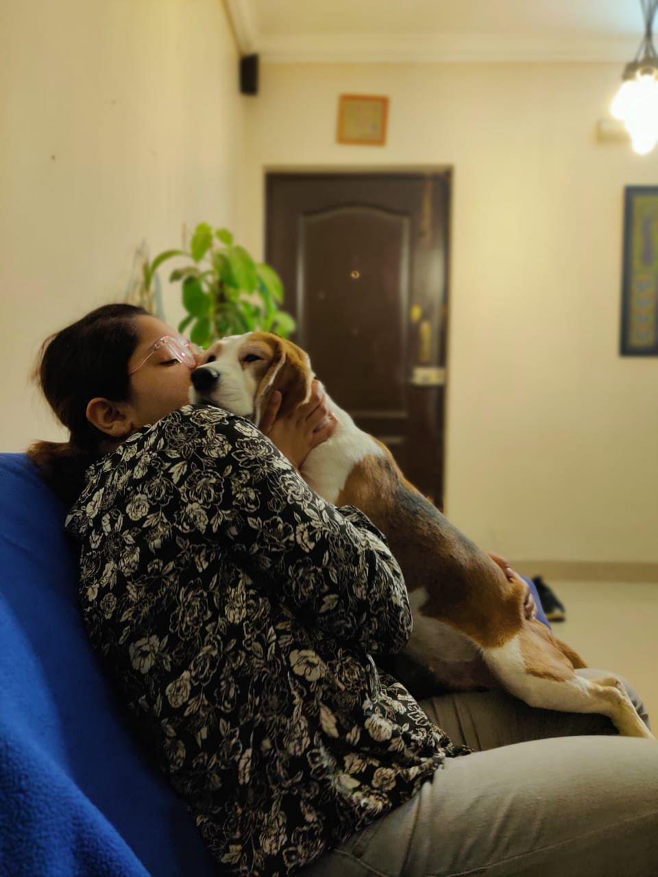 Mithila Malaviya with her pet beagle, Koki.