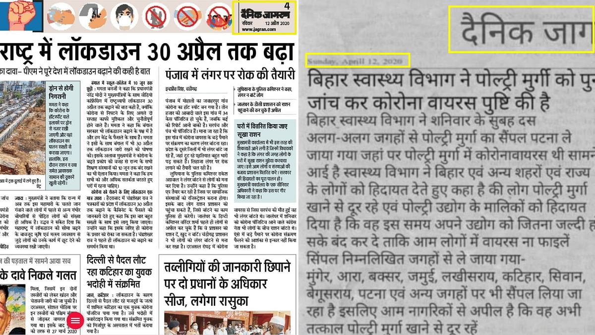 Bihar Confirms Chicken as COVID Source? Fake Clipping Goes Viral