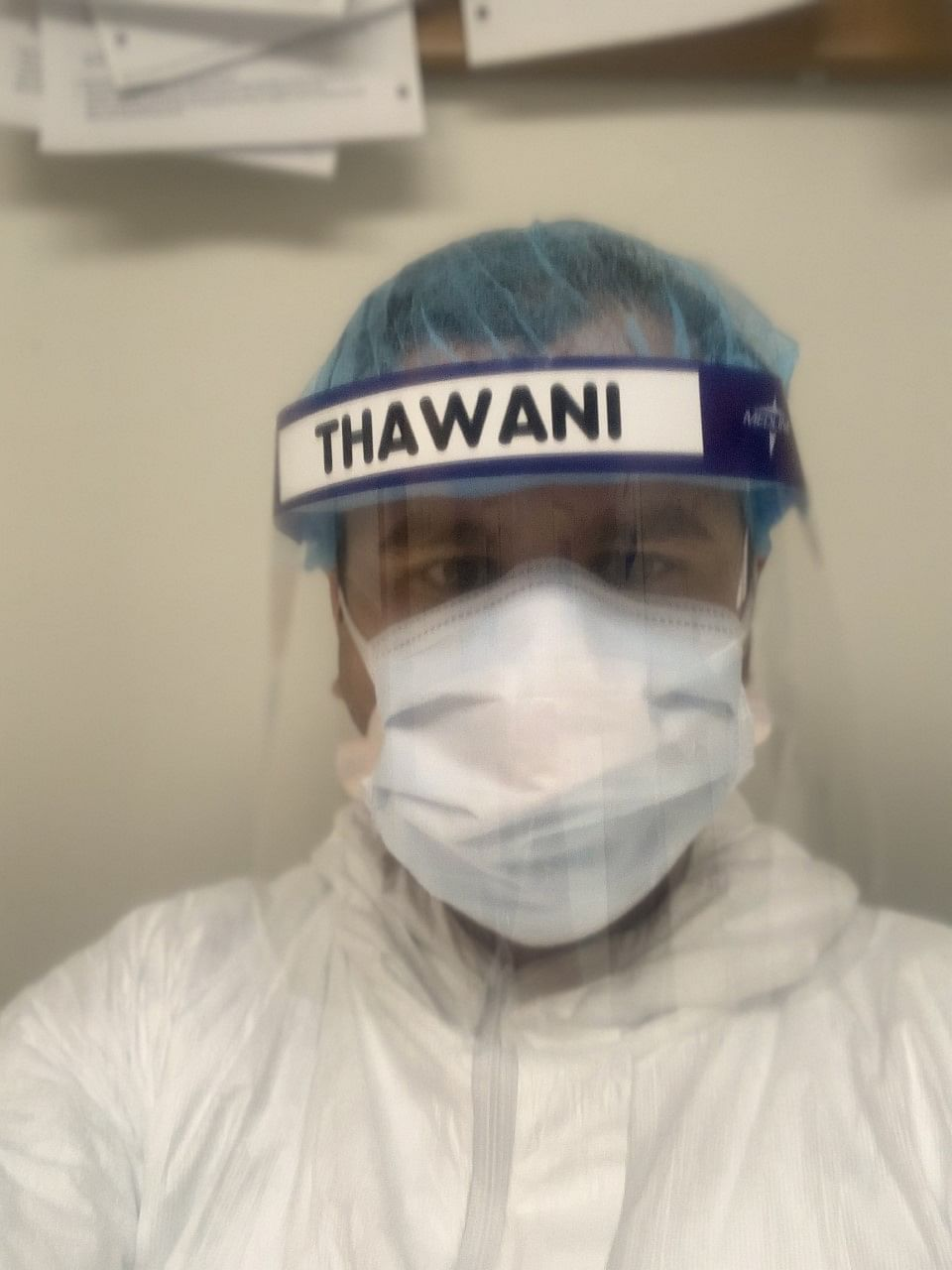 Rajat fully dressed in his PPE.