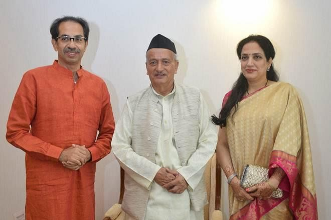 Maharashtra CM Uddhav Thackeray (L), Governor BS Koshyari (C) and Rashmi Thackeray (R).