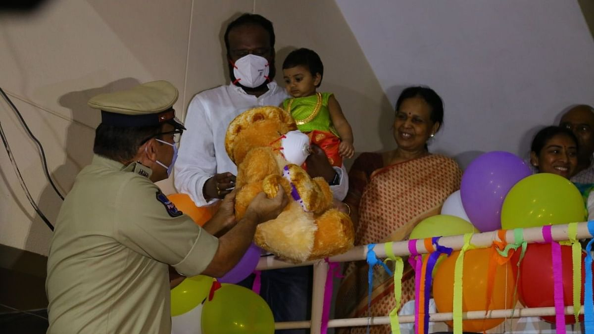 Little Myra gets a birthday gift from Hyderabad Police.
