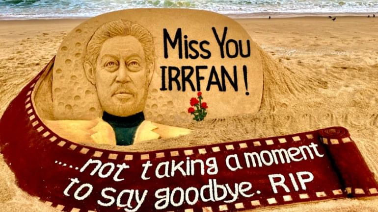 "In his artwork, Pattnaik inscribed ""Miss You Irrfan"", along with a an outline of the actor's face."