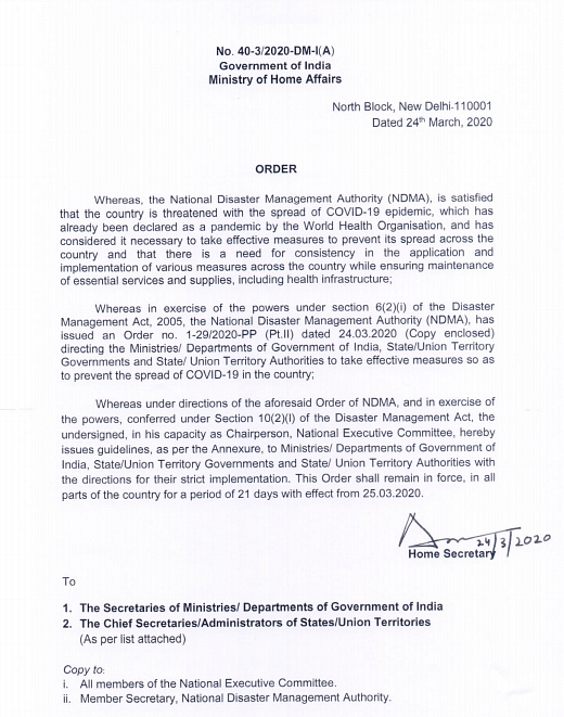 MHA's order on implementation of Disaster Management Act dated 24 March.