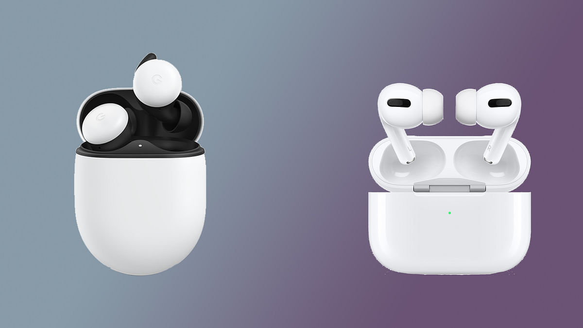 The Google Pixel Buds 2 (left) vs Apple Air Pods Pro (right).