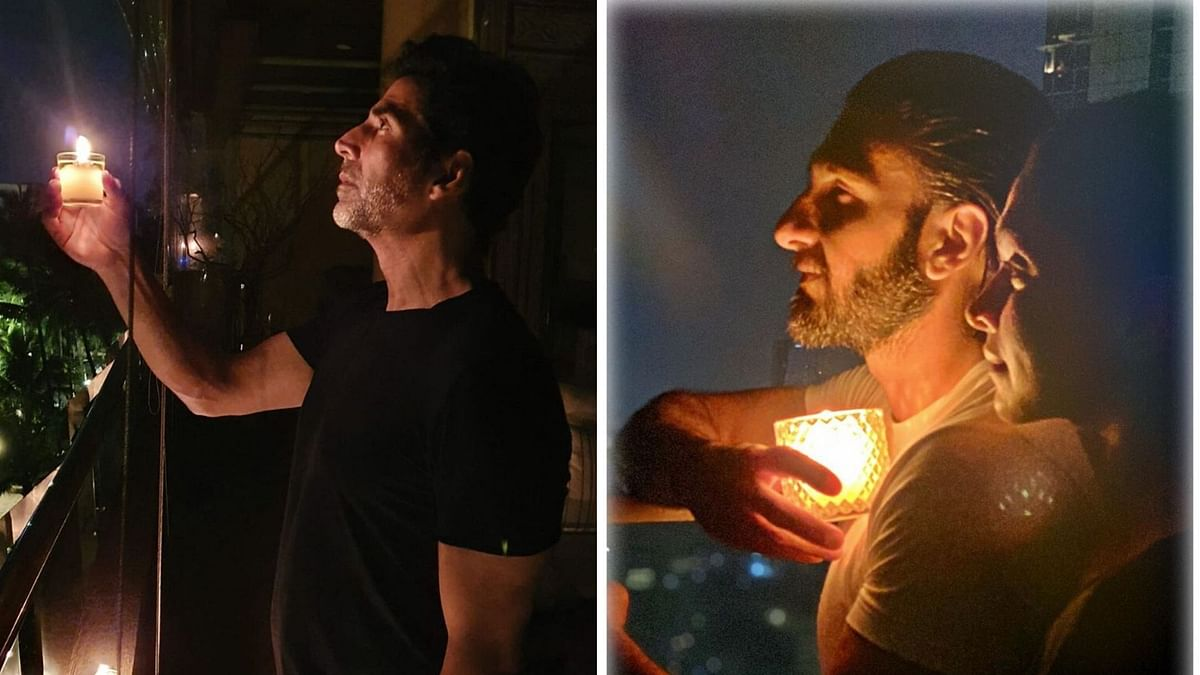 Akshay Kumar, Ranveer Singh and Deepika Padukone lit diyas and candles.