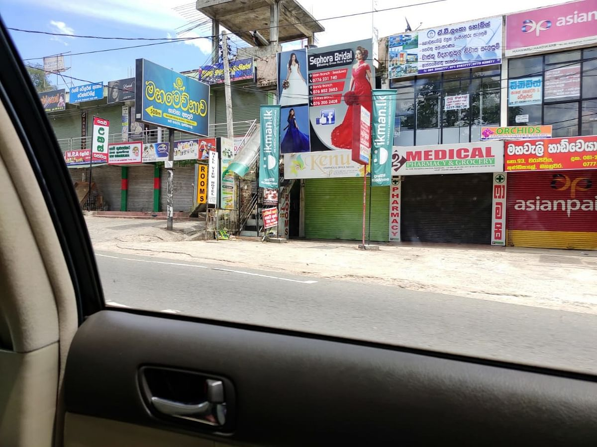 Shops shuttered in Kandy.