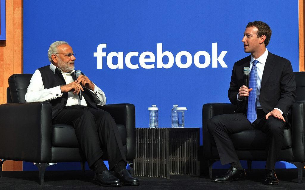 Indian Prime Minister Narendra Modi with Facebook founder Mark Zuckerberg.