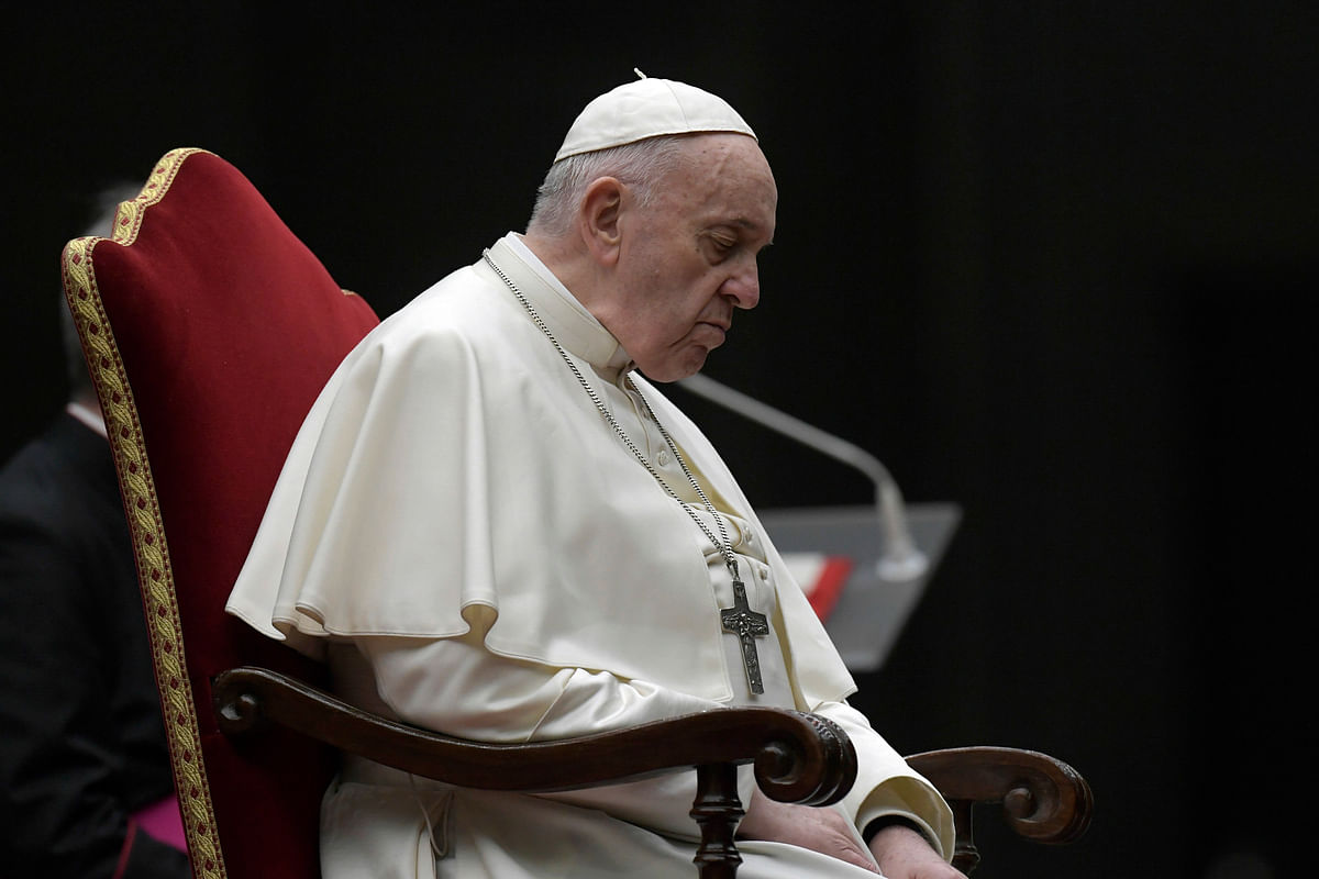 Pope Francis presides over the Via Crucis – or Way of the Cross – ceremony in an empty St. Peter's Square, April 10, 2020.