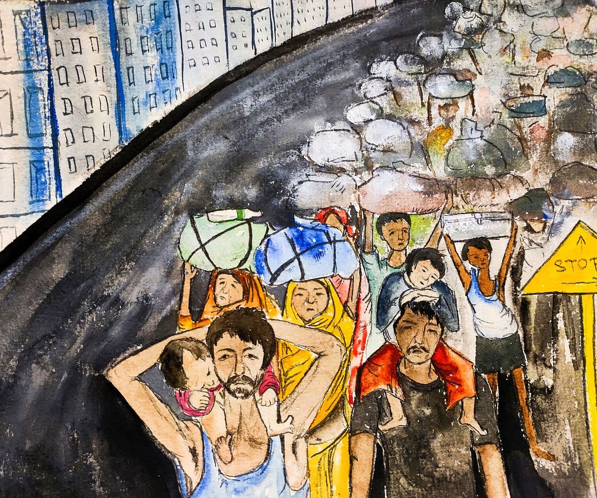 An artist's view of the trek back by migrant workers from Delhi and Noida to villages in Uttar Pradesh and elsewhere. The artist, Labani Jangi, is a self-taught painter doing her PhD on labour migrations at the Centre for Studies in Social Sciences, Kolkata.