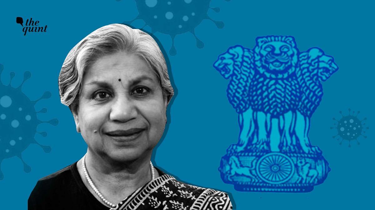 Image of Retd IAS Shailaja Chandra and Indian civil services logo used for representational purposes.