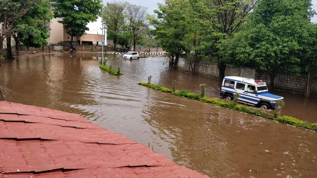 Flooded GKVK road in north Bengaluru