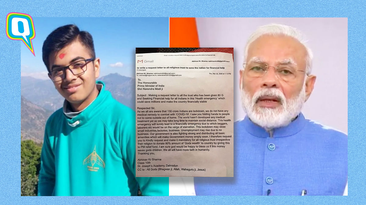 Use 'God's Wealth' for COVID-19: Teenage Boy Writes Letter to PM