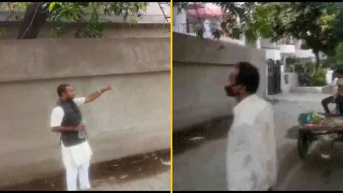 BJP MLA Brij Bhushan Sharan is seen harassing the vendor, asking him to reveal his religious identity.