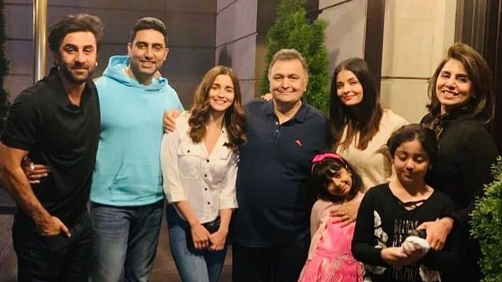 Rishi, Neetu and Ranbir Kapoor with Alia Bhatt and the Bachchans.