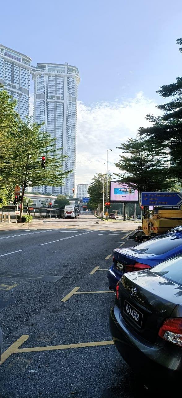 Empty streets of Kuala Lumpur.