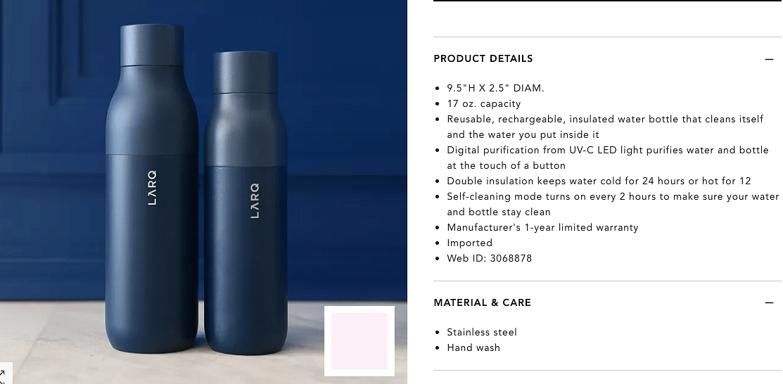The LARQ water bottle has a UV-light cap that claims to sanitise water.