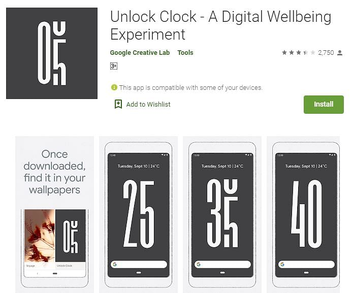 Unlock Clock is a live wallpaper that shows the number of times you've unlocked your phone.