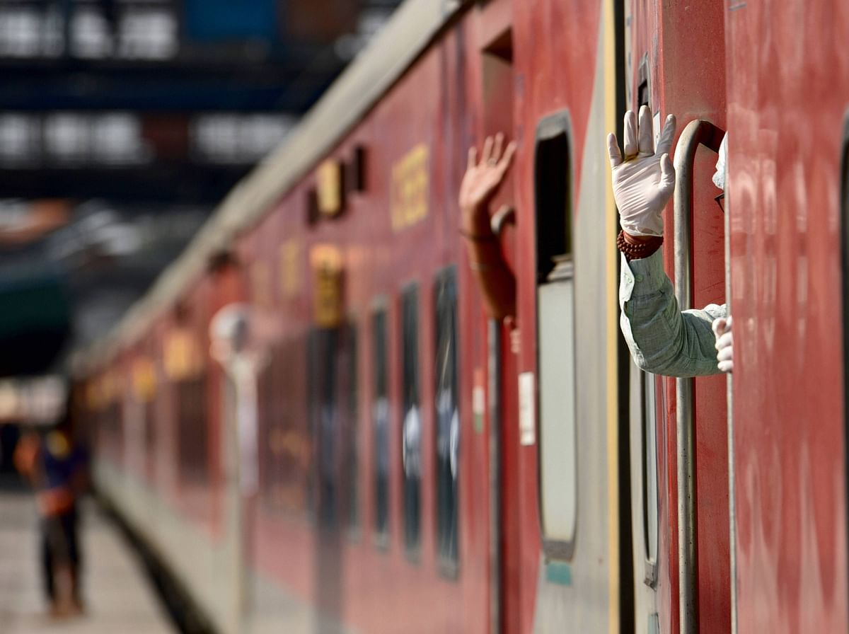 New Delhi-Dibrugarh special train at New Delhi Railway Station following the resumption of passenger train services connecting major cities, Tuesday.