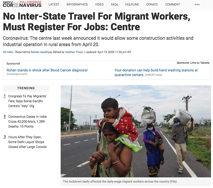The NDTV article used the image of migrant workers as a file photo.